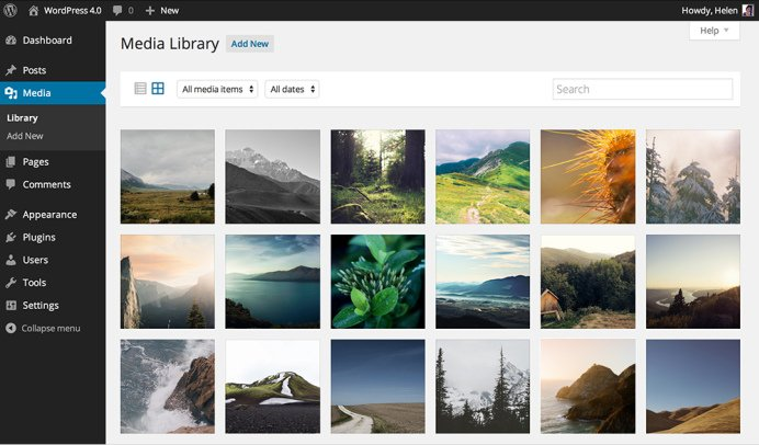 Wordpress mediabibliotheek