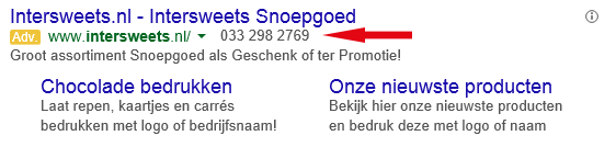Voorbeeld Adwords advertentie Intersweets